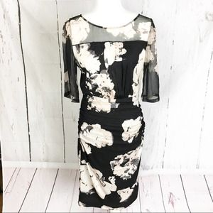 Tracy Reese Ruched Floral Midi Dress